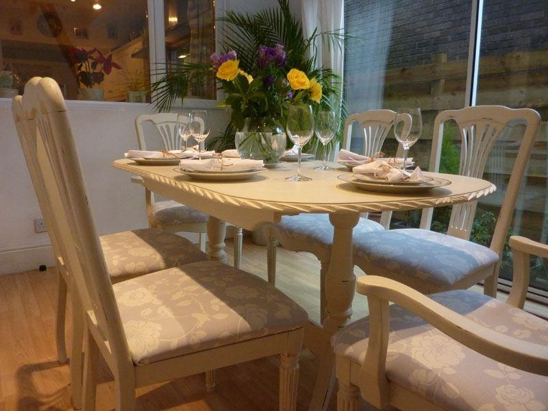 Shabby Chic Extending Dining Table With 6 Chairs Painted Vintage Within Shabby Chic Extendable Dining Tables (Image 18 of 20)