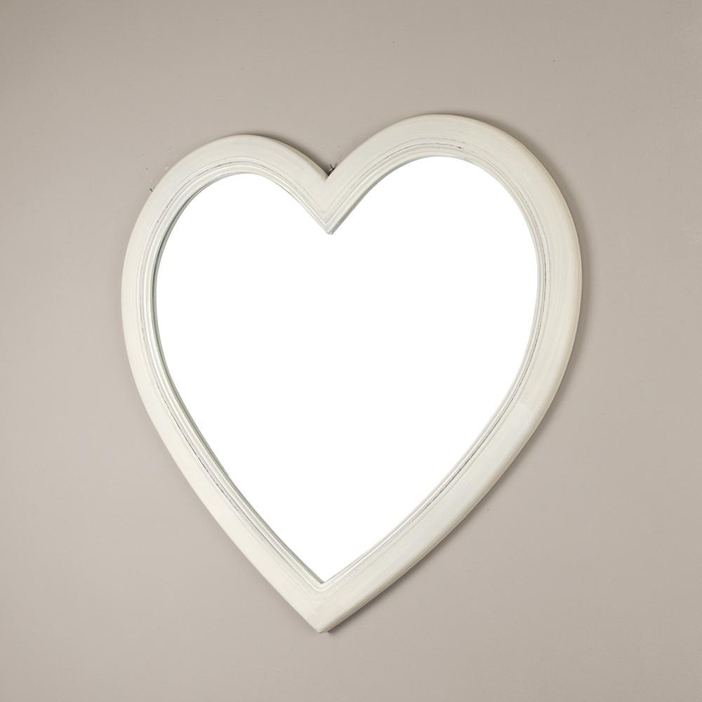 Shabby Chic Heart Shaped Wall Mirror In Heart Shaped Mirror For Wall (Image 13 of 20)