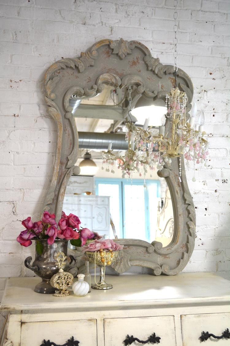 Shabby Chic Mirror Intended For French Shabby Chic Mirror (View 11 of 20)