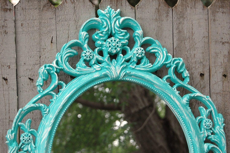 Shabby Chic Mirror Wall Mirror Baroque Mirror Aqua With Regard To Small Baroque Mirror (Image 12 of 20)