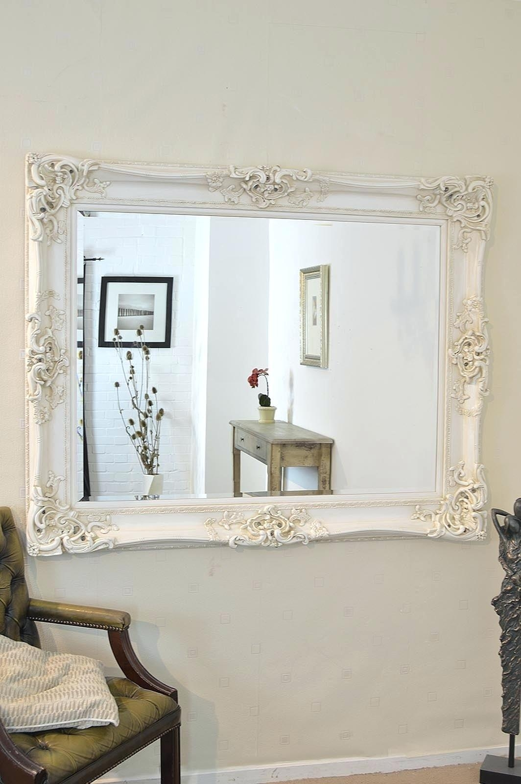 Shabby Chic Overmantle Mirrorlarge Oval Mirror Large Cream Inside Large Shabby Chic Mirrors (Image 16 of 20)