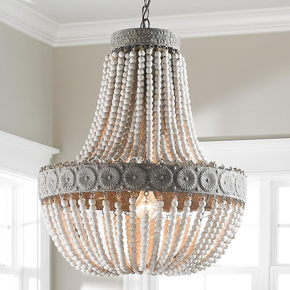 Shades Of Light Neutral Boho Aged Wood Beaded Chandelier Pertaining To Turquoise Chandelier Lamp Shades (Image 19 of 25)