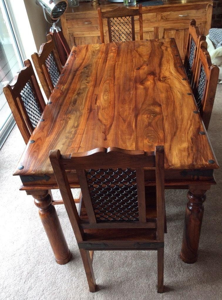 Sheesham Jali Solid Wood Dining Table & 6 Chairs | In Norwich Regarding Sheesham Dining Tables (Image 18 of 20)