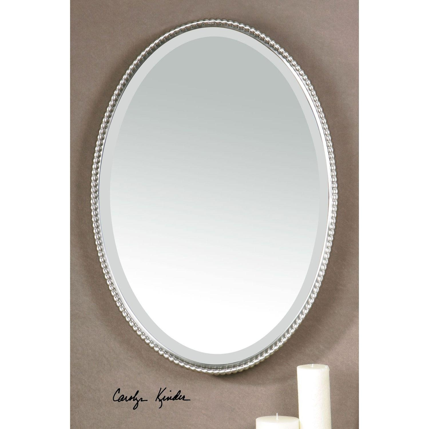 Sherise Brushed Nickel Oval Mirror Uttermost Wall Mirror Mirrors Pertaining To Bevelled Oval Mirror (Image 12 of 20)