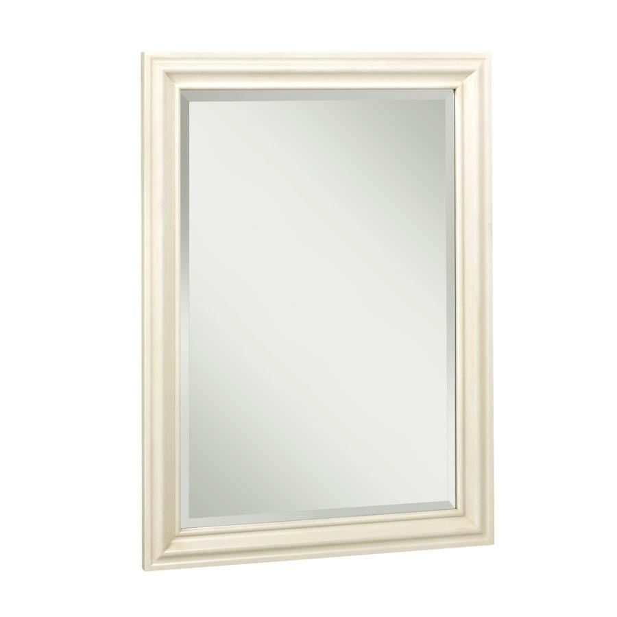 Shop Allen + Roth Ketterton 24 In W X 33 In H Cream Rectangular Intended For Cream Mirrors (View 11 of 20)