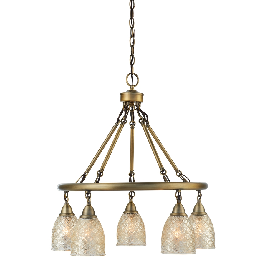 Shop Allen Roth Lynlore 2402 In 5 Light Old Brass Vintage Intended For Old Brass Chandeliers (Image 24 of 25)