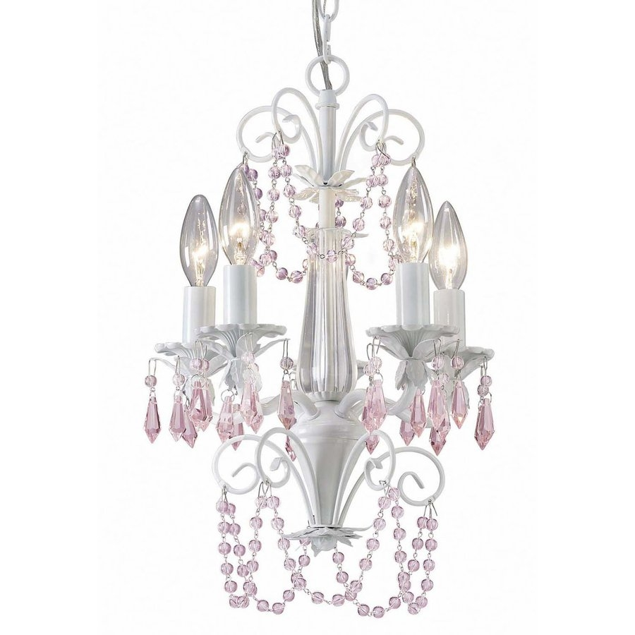 Shop Canarm Danica 12 In 5 Light White Crystal Candle Chandelier With Regard To White And Crystal Chandeliers (Image 22 of 25)