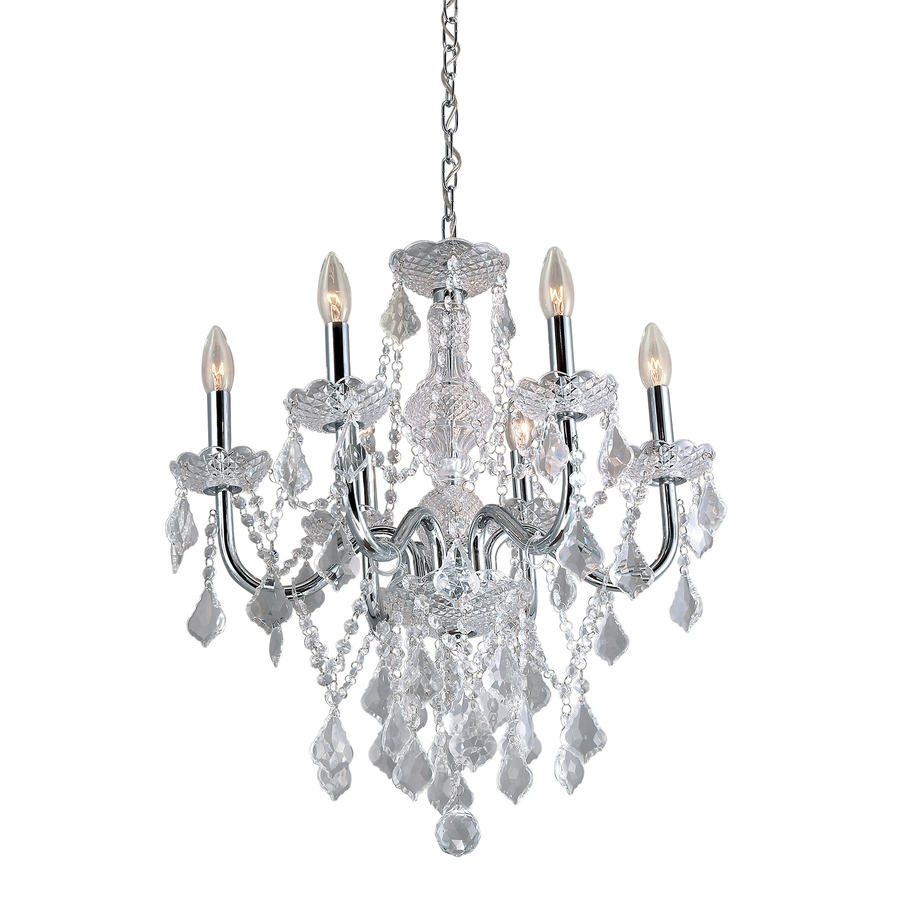 Shop Chandeliers At Lowes With Crystal Chrome Chandeliers (Image 20 of 25)