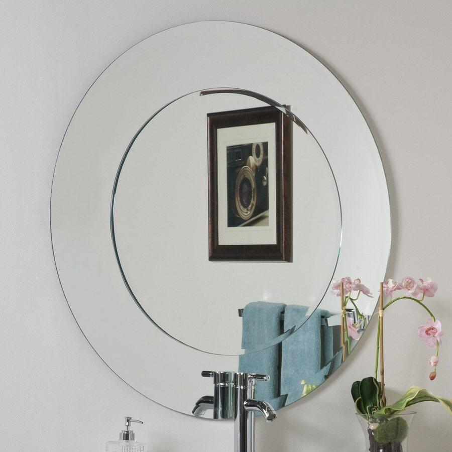 Shop Decor Wonderland Oriana 35 In X 35 In Round Frameless Within Round Bevelled Mirror (Image 18 of 20)