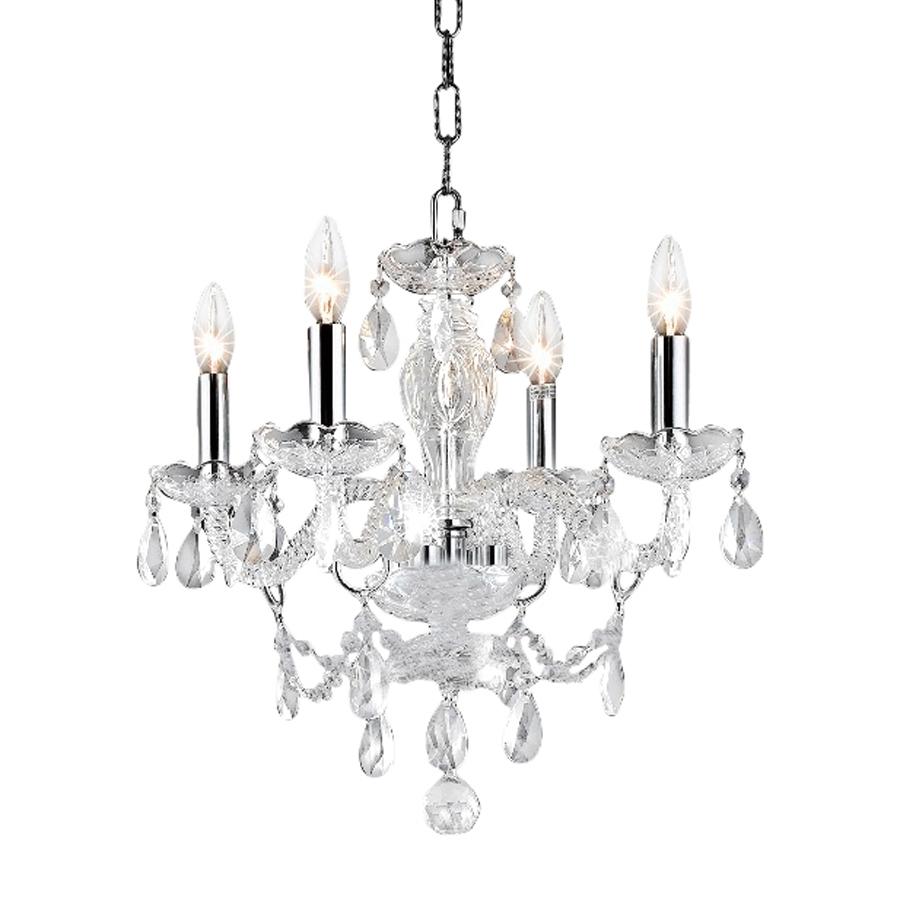 Shop Elegant Lighting Princeton 17 In 4 Light Chrome Crystal Throughout 4 Light Chrome Crystal Chandeliers (View 6 of 25)