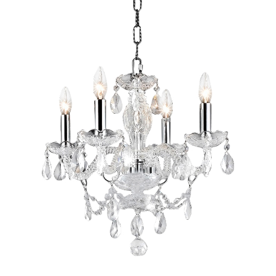 Shop Elegant Lighting Princeton 17 In 4 Light Chrome Crystal With Regard To 4Light Chrome Crystal Chandeliers (Image 14 of 25)