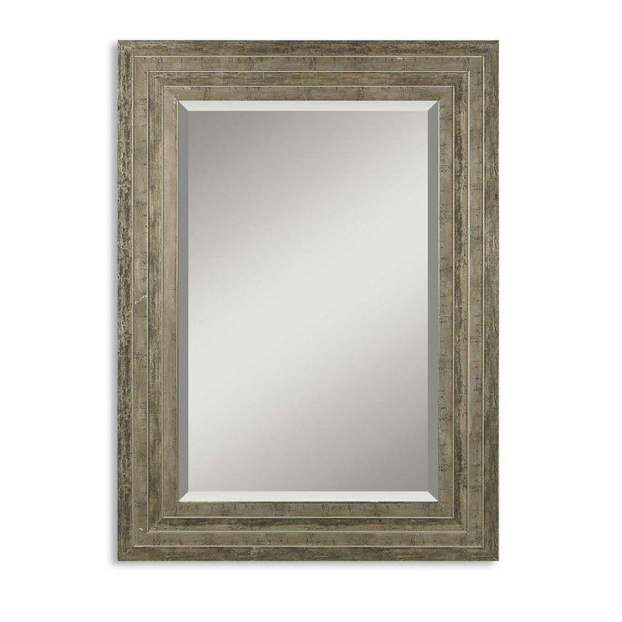 Shop Global Direct Distressed Silver Leaf Beveled Wall Mirror At Throughout Distressed Silver Mirror (View 5 of 20)