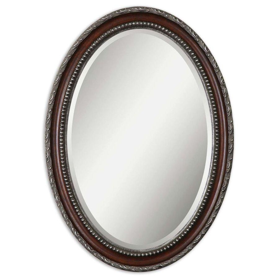 Shop Global Direct Mahogany Beveled Oval Wall Mirror At Lowes In Silver Oval Wall Mirror (Image 12 of 20)