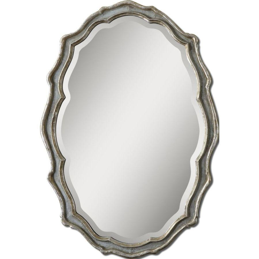 Shop Global Direct Slate Blue Beveled Oval Wall Mirror At Lowes With Regard To Silver Oval Wall Mirror (Image 13 of 20)