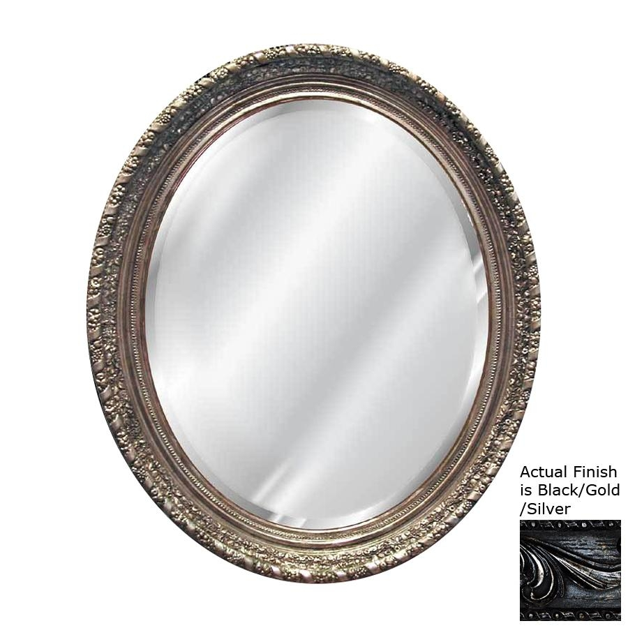 Shop Hickory Manor House Ornate Black/gold/silver Beveled Oval Regarding Oval Silver Mirror (View 18 of 20)