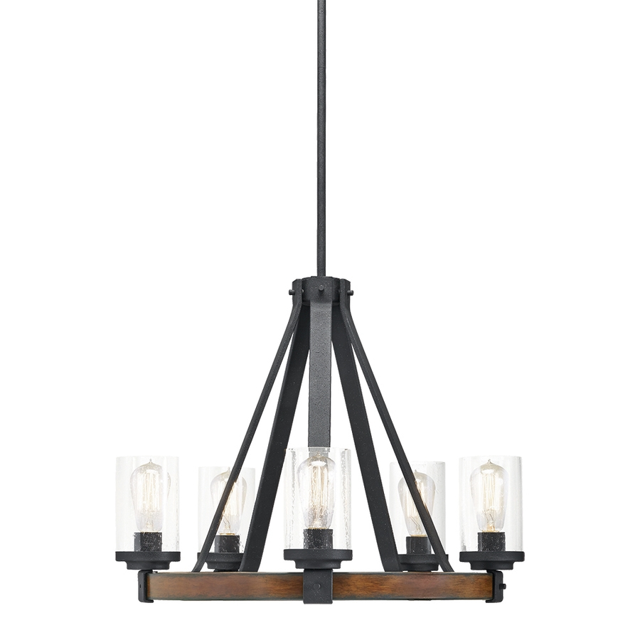 Shop Kichler Barrington 2402 In 5 Light Distressed Black And Wood In Clear Glass Chandeliers (Image 22 of 25)