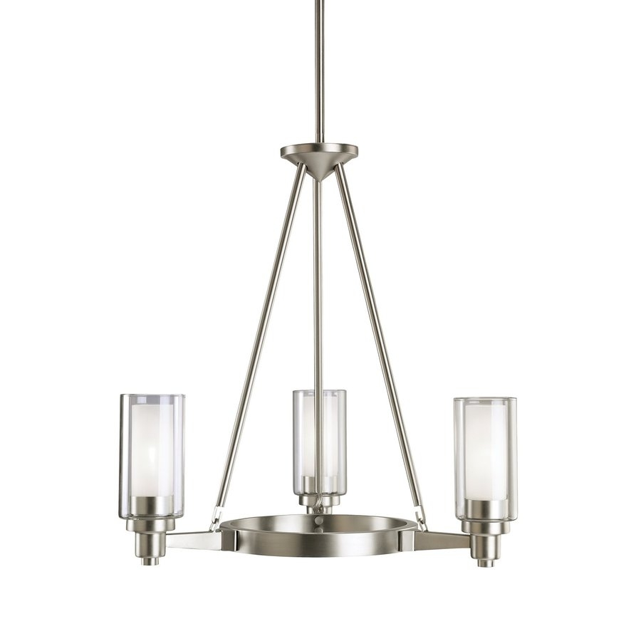 Shop Kichler Circolo 22 In 3 Light Brushed Nickel Clear Glass For Clear Glass Chandeliers (Image 23 of 25)