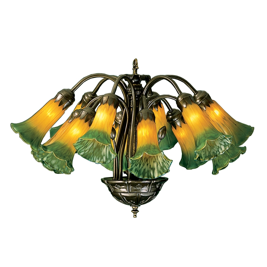 Shop Meyda Tiffany Pond Lily 12 Light Mahogany Bronze Chandelier Within Lily Chandeliers (Image 24 of 25)