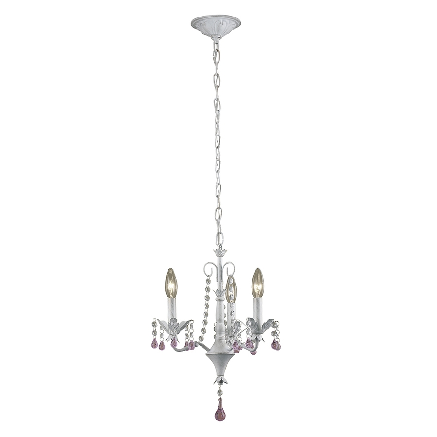 Shop Portfolio 1402 In 3 Light Antique White Vintage Crystal With 3 Light Crystal Chandeliers (Image 16 of 25)