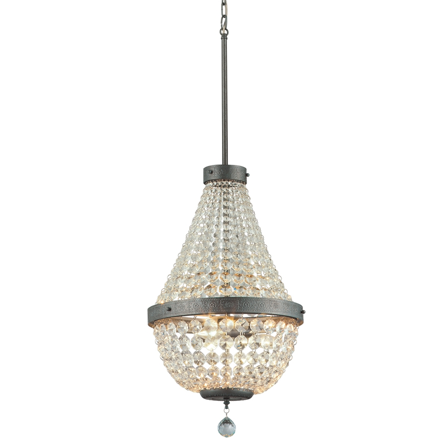 Shop Portfolio Breely 1402 In 3 Light Antique Silver Crystal Inside 3 Light Crystal Chandeliers (Image 17 of 25)