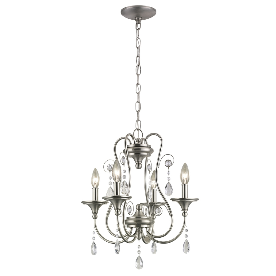 Shop Portfolio Opula 17 In 4 Light Brushed Nickel Crystal Crystal Throughout 4 Light Crystal Chandeliers (Image 17 of 25)