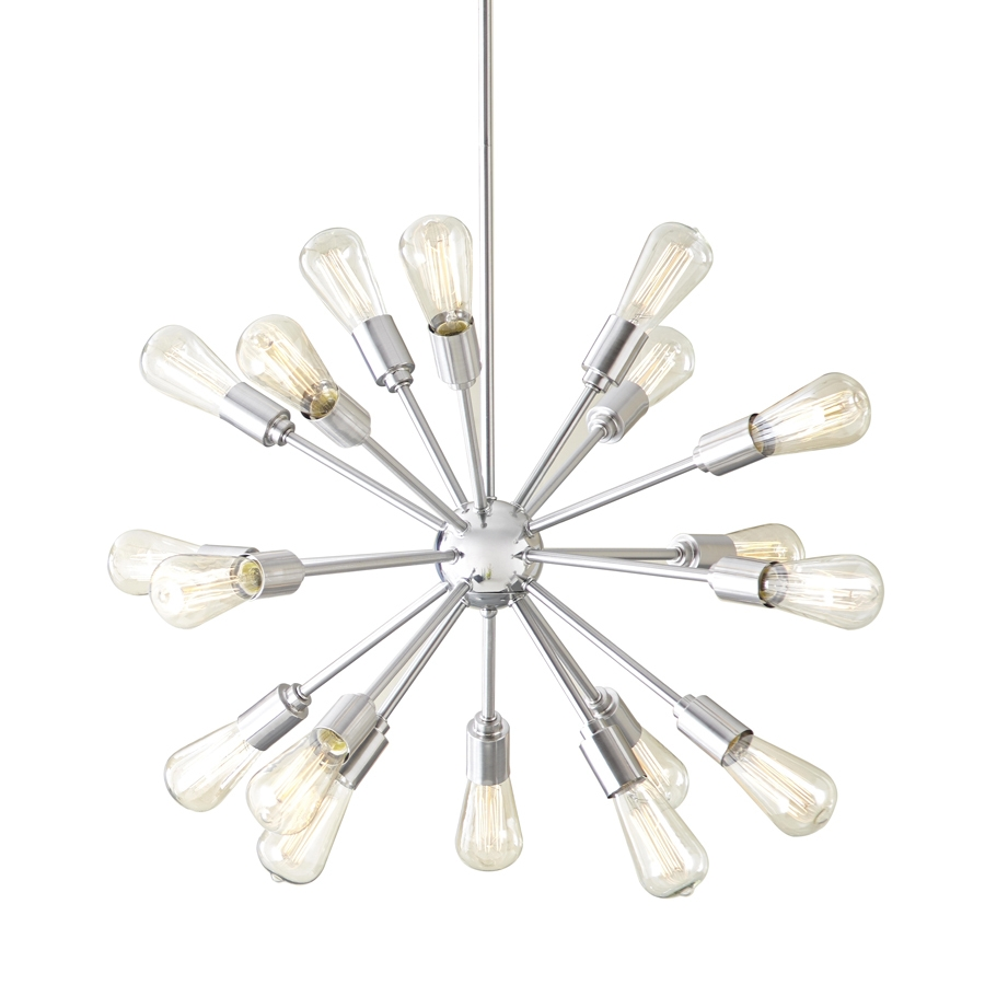 Shop Style Selections Grayford 3543 In 18 Light Brushed Nickel Pertaining To Atom Chandeliers (Image 25 of 25)