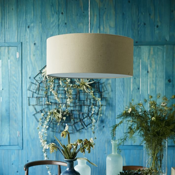 Short Drum Pendant Natural Linen West Elm For Turquoise Drum Chandeliers (Image 18 of 25)