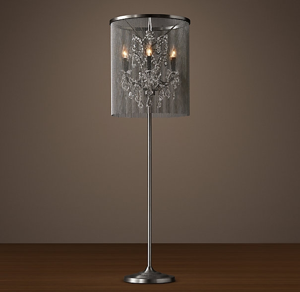 Signature Collection Luxury Grand Scale Chainmail Chandelier Floor Within Crystal Chandelier Standing Lamps (Image 19 of 25)