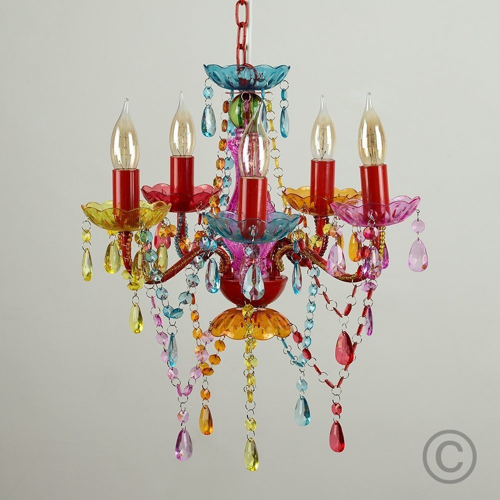 Silly Lamp 5 Arms Chandelier Gypsy Small Multi Colour Amazonco With Regard To Multi Colored Gypsy Chandeliers (Image 23 of 25)