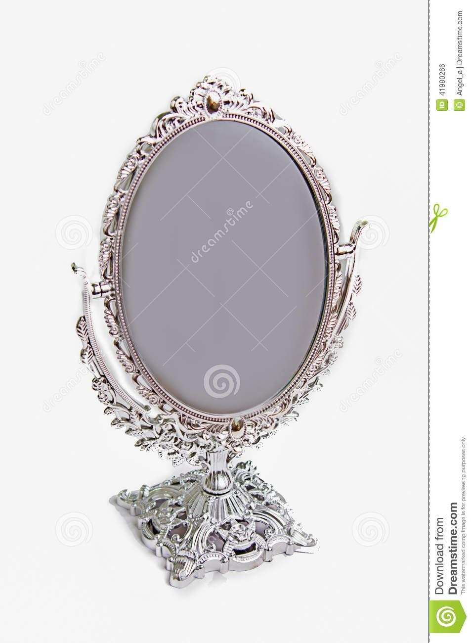Silver Antique Mirror Isolate Stock Photo – Image: 41980266 Regarding Silver Antique Mirror (Image 18 of 20)