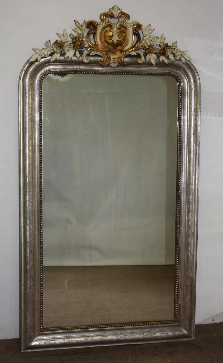 Silver Arched Mirror With Gold And Cream Cart In Antique Cream Mirror (Image 19 of 20)
