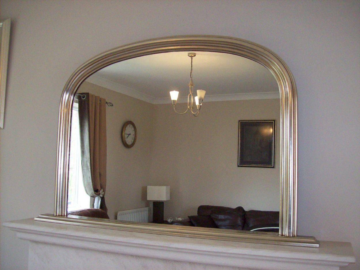 Silver Arched Overmantle Mirror Within Vintage Overmantle Mirror (Image 19 of 20)