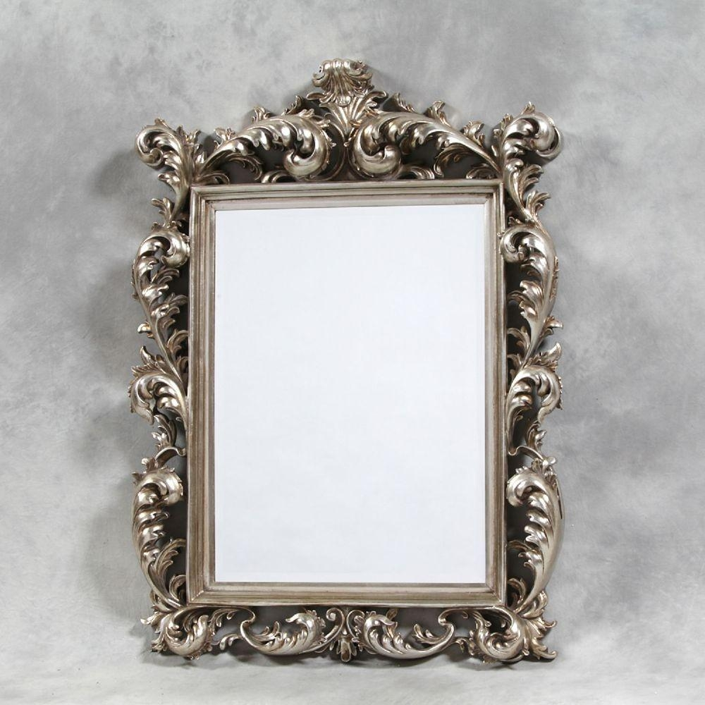 Silver Square Large Rococo Mirror Throughout French Rococo Mirror (Image 19 of 20)