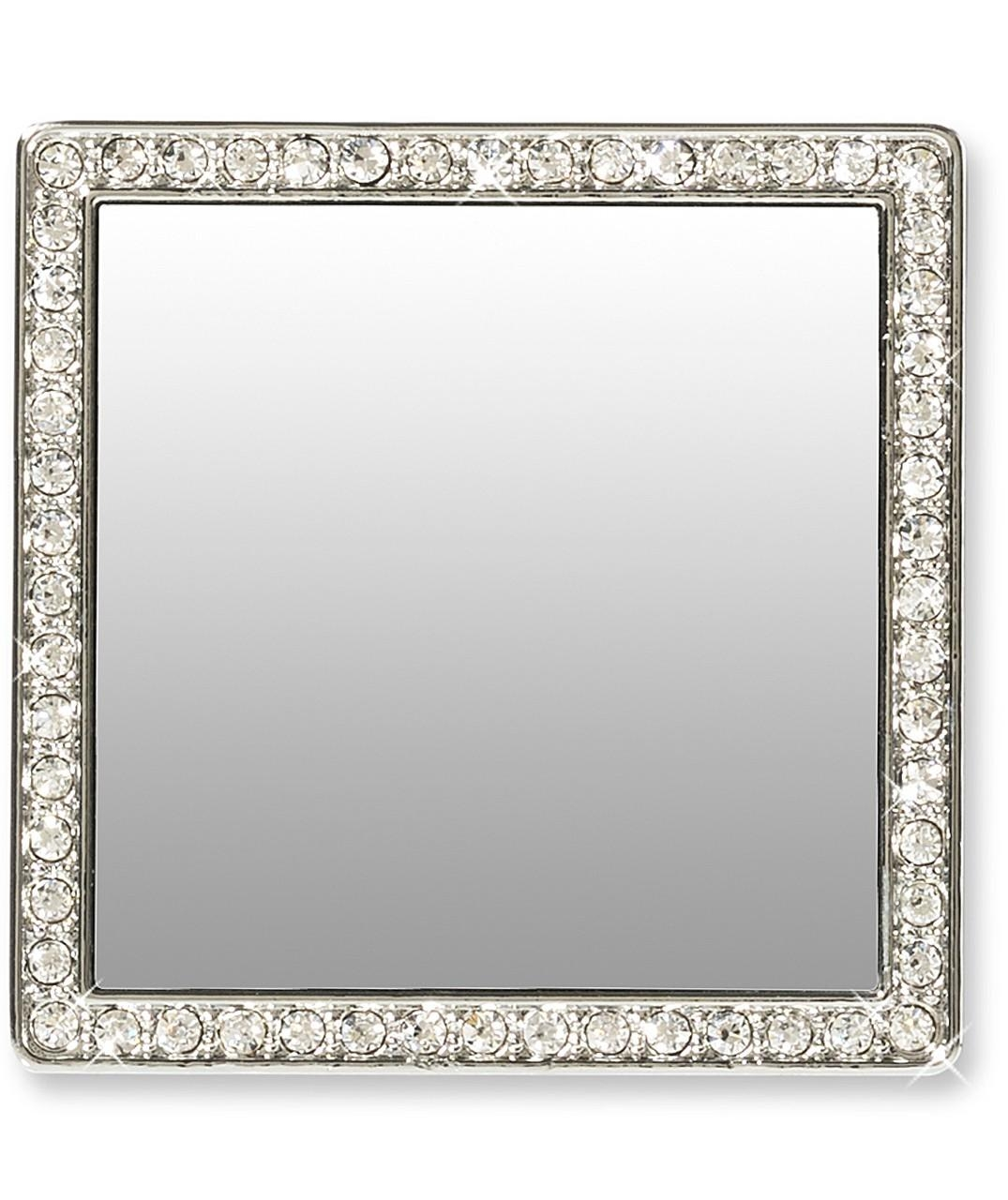 Silver Square With Crystals Phone Mirror Pertaining To Mirror With Crystals (Image 18 of 20)