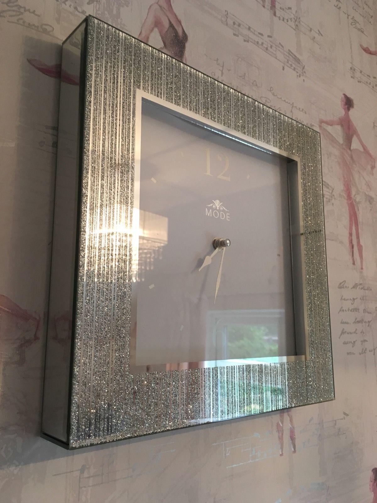 Silver Striped Glitter Frame Mirror Sparkle Square Wall Clock For Glitter Frame Mirror (Image 15 of 20)