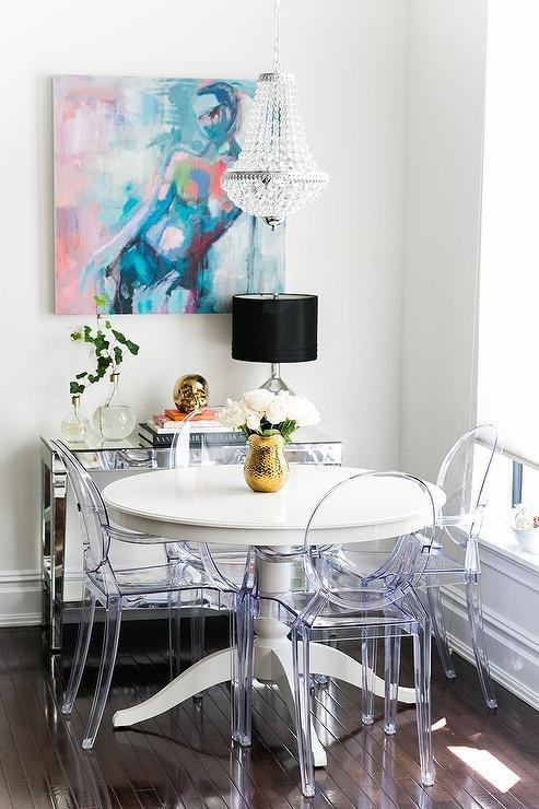 Simone Round Mirrored Top And Acrylic Base Table With Acrylic Round Dining Tables (Image 18 of 20)