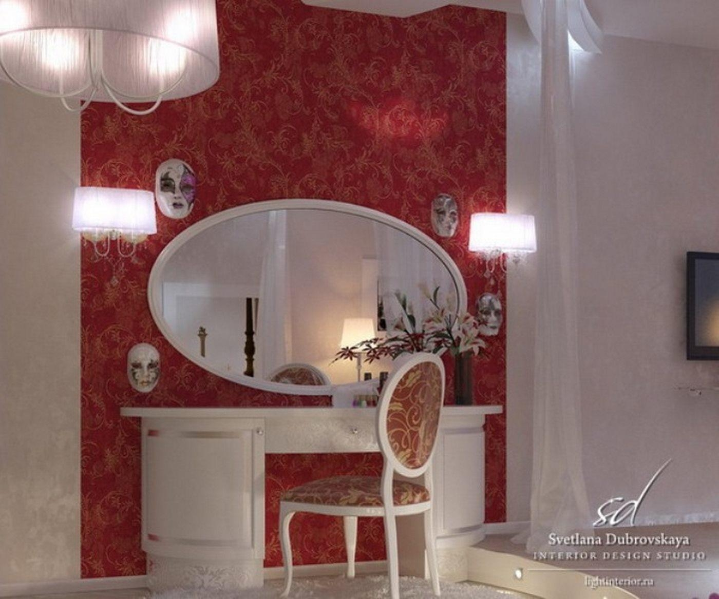 Simple Dressing Table With Oval Wall Mirror And Semi Circle With Red Wall Mirror (View 13 of 20)