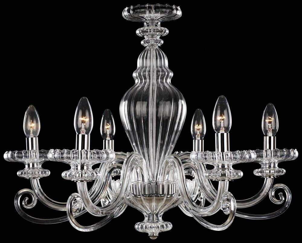 Six Light Chrome Clear Glass Up Chandelier N9166 Lighting Etc With Chrome And Glass Chandeliers (Image 22 of 25)