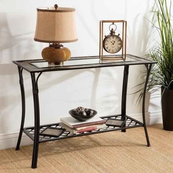 Slate/ Glass/ Steel Sofa Table – Free Shipping Today – Overstock Intended For Slate Sofa Tables (Image 15 of 20)