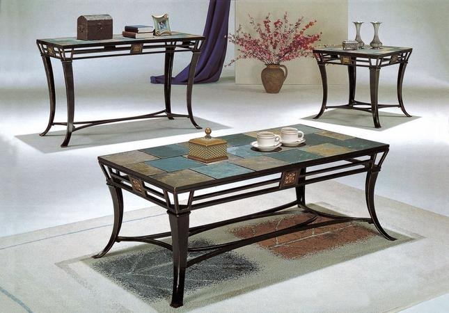 Slate Top 3 Piece Metal Coffee Table And End Table Set Coaster Throughout Slate Sofa Tables (Image 14 of 20)