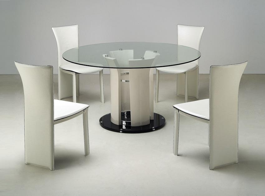 Sleek Round Glass Dining Tables That Make A Stylish Impression Regarding Sleek Dining Tables (Image 16 of 20)