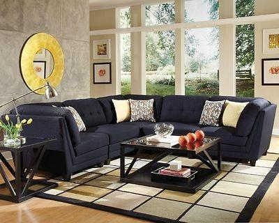 Sleek & Stylish Midnight Blue Sectional Sofa Couch Living Room In Midnight Blue Sofas (Image 20 of 20)