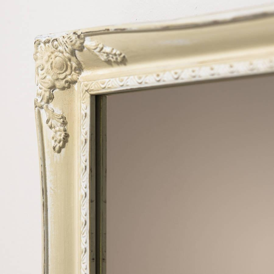 Slim Swept Hand Painted Vintage Cream White Mirrorhand Crafted Inside Large White French Mirror (Image 19 of 20)