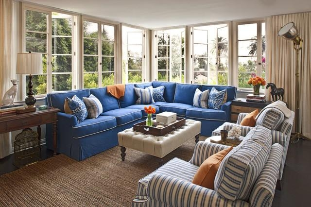 Slipcovered Sectional Family Room Transitional With Blue Couch Pertaining To Blue Slipcover Sofas (Image 19 of 20)