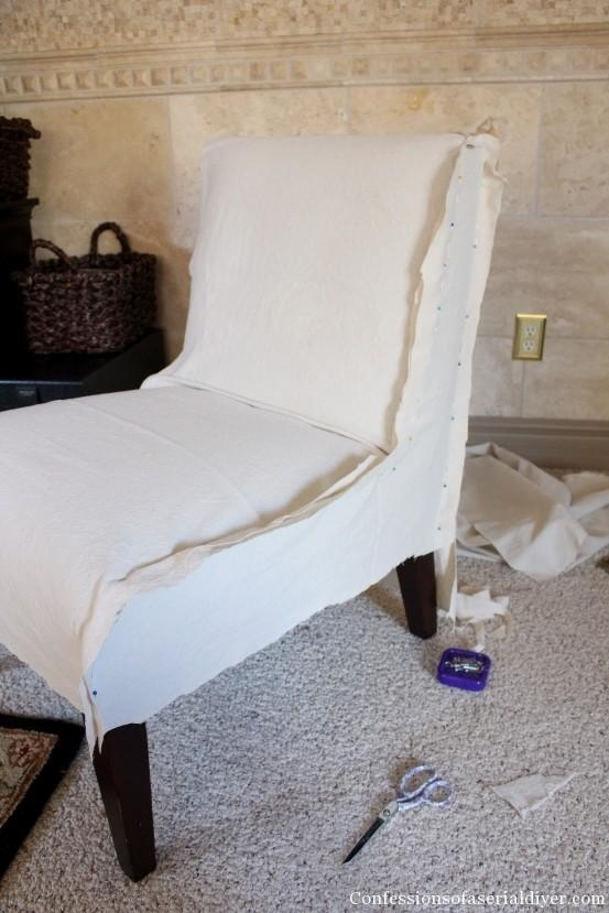 Slipcovering An Armless Accent Chair | Confessions Of A Serial Do With Regard To Armless Slipcovers (Image 11 of 20)