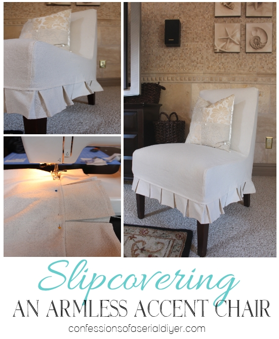 Slipcovering An Armless Accent Chair | Confessions Of A Serial Do With Regard To Armless Slipcovers (Image 12 of 20)