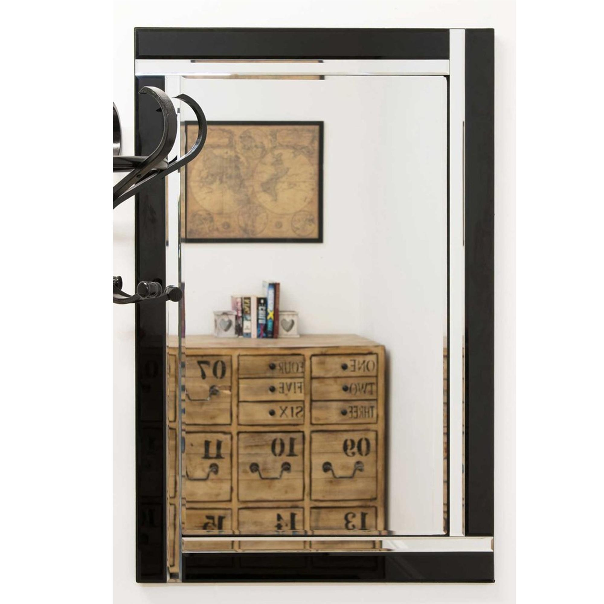 Small Contemporary Black Venetian Mirror | Decorative Venetian Mirrors In Black Venetian Mirror (View 14 of 20)