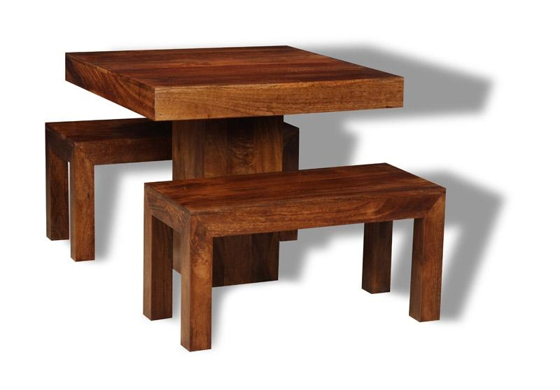 Small Dakota Cube Dining Table & 2 Dining Benches | Trade Throughout Cube Dining Tables (Image 17 of 20)