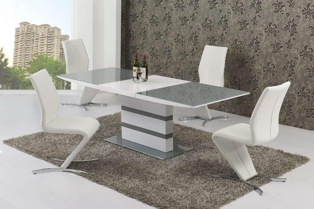 Small Extending 4 Seater Gloss Grey Glass Dining Table & Chairs Throughout 4 Seater Extendable Dining Tables (Image 18 of 20)