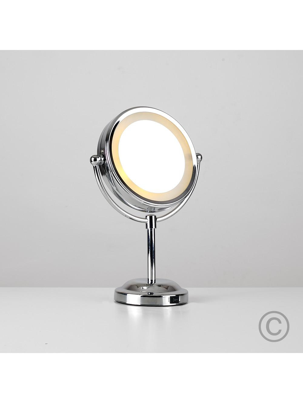 Small Round Light Up Free Standing Mirror | Valuelights In Small Free Standing Mirrors (Image 17 of 20)